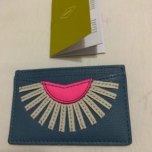 Fossil women leather card holder faded indigo